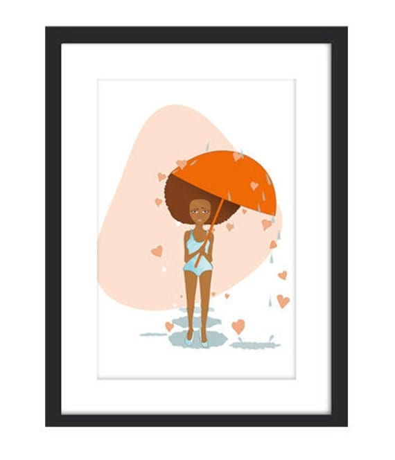 Ready4Love - Cute Afro girl Vector Illustration Print 8 x11 Archival Quality