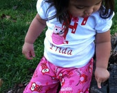 Beautiful Hot Pink & Red Valentine's day  owl ruffle pant and shirt