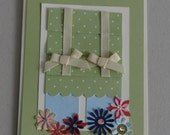 Window greeting card with flowers