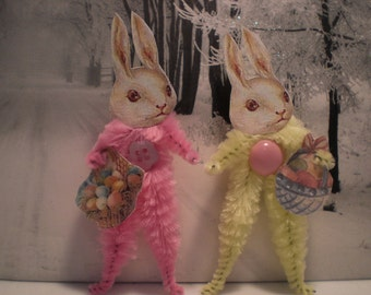 Vintage Style Bunny Rabbit Chenille Ornaments ~ Pair of 2 ~ Old World Charm & Nostalgia!
