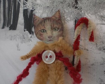 CHRISTMAS TABBY CAT Vintage Style Chenille Ornaments ~ Pair of 2 ~ Old World Charm & Nostalgia!