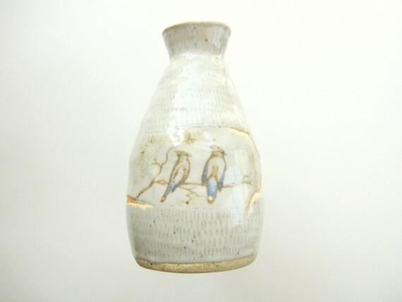 Sake bottle, Coil built ceramic vase with birds