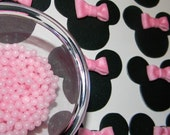 Minnie Mouse Fondant Cupcake Toppers with 1 oz. jar of Pink Candy Pearls
