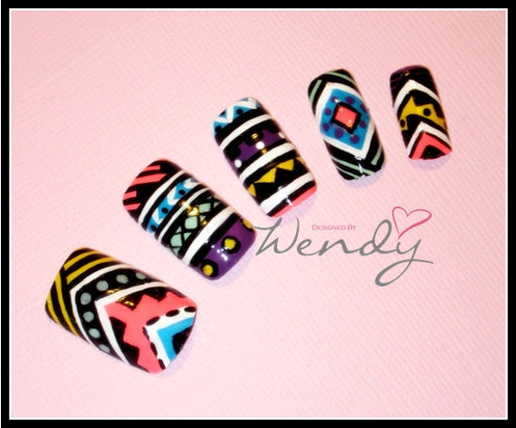 Aztec Pattern Inspired Nails