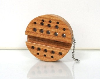 Moblie Round Wood iPhone / Small Gadget Stand - Solid Oak Dock / Keychain - Ready to Ship