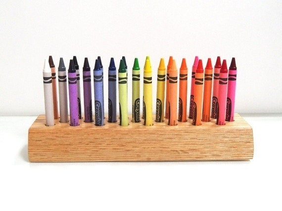 Hand-crafted Solid Oak Crayons Holder - Ready to Ship