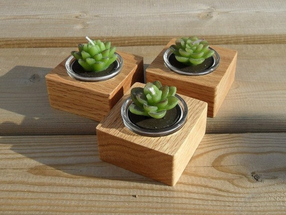 Square Hand-Crafted Wood Candle / Pot Holders - Set of 3 - Solid Oak - Made to Order