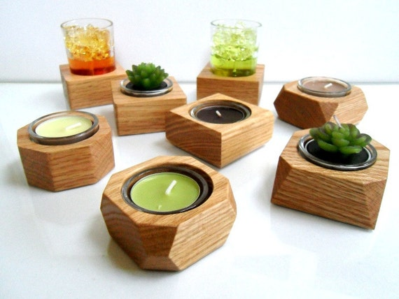 Modern Hand-Crafted Wood Candle / Pot Holder - Solid Oak with glass container -  Made to Order