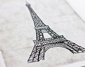 Eiffel Tower Art Print / Vintage Wall Art / Paris Illustration Sketch / 8x10