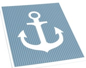 Anchor Art Print / Nautical Set / 8x10 Nursery Wall Art / Choose your background and color