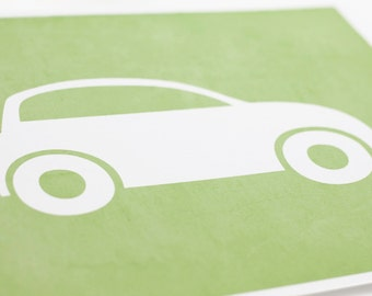 Car Art Print / Nursery Wall Art Transportation Set / Choose your Colors and Background / 8x10