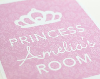 Custom Princess Room Art Print / Choose your Colors & Background / 8x10 / Wall Art Poster