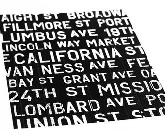 San Francisco Bus Roll Art Print / Choose your Color / 8x10 / Typography Wall Art Poster
