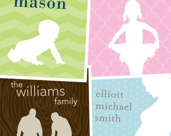 Custom Silhouette from your Photo / Personalized Family Art / 8x10 Digital Print / Wedding Gift Wall Art Poster