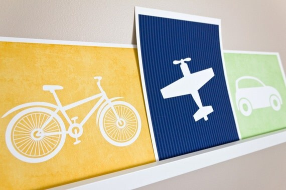 Airplane Art Print / Transportation Set / Plane Nursery Art / 8x10 Custom Wall Art