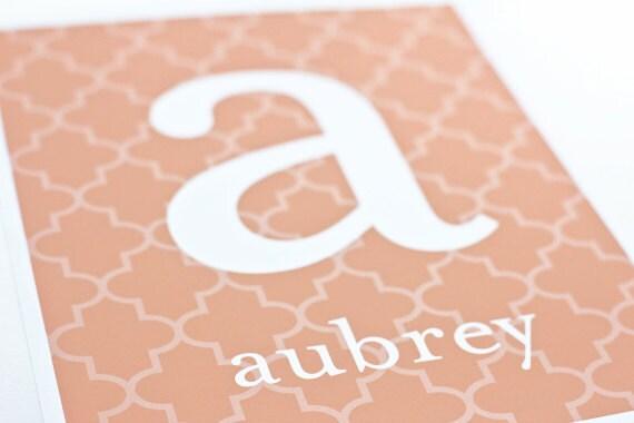 Custom Letter and Name Art Print / Nursery Wall Art Digital Print / Choose your Colors & Background / 8x10
