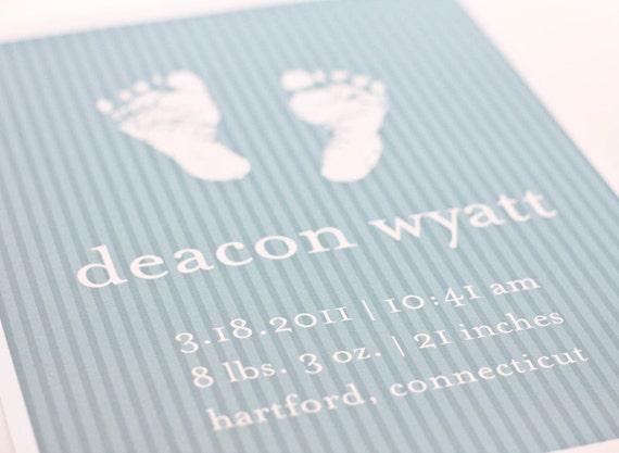 Birth Announcement Baby Footprints Art Print / Personalized Nursery Art Baby Shower Gift / 8x10 Digital Print