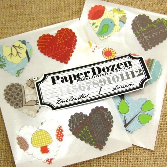 Dollar Sale- Scallop Heart Stickers (Green Collection) DCWV- 1 1/2 Dozen