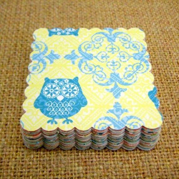 1.50 Sale- Scallop Square Shape (Whimsy Collection ) DCWV- Glittered ... 2 Dozen