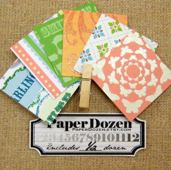 1 Dollar Sale- Mini Cards // Thank You Cards // Favor Cards (Whimsy Collection- Salmon) 1/2 Dozen