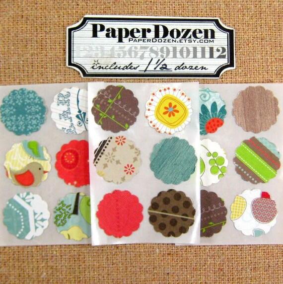 Dollar Sale- Small Scallop Stickers (Green Collection) DCWV- 1 1/2 Dozen