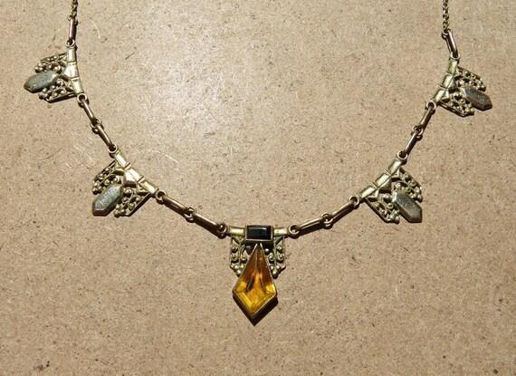 Vintage Art Deco Rolled Gold & Paste Necklace