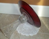 Vintage Ruby Red Candy Dish / Dessert Pedestal / Upcycled by SimplyUpStanding