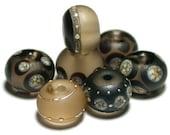 Beige Black Silvered Lampwork Glass Beads Set Flameworked