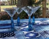 Handblown Martini Glass Cobalt Stem Set of Four Bar Find