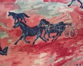 Fabric Standardbred Horse Nylon Yardage Superb Pinks & Motif Working Equine