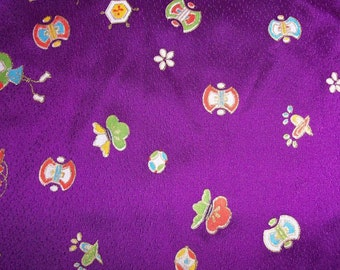 Silk Japanese Childrens Print Cutest EVER Purple Abstract