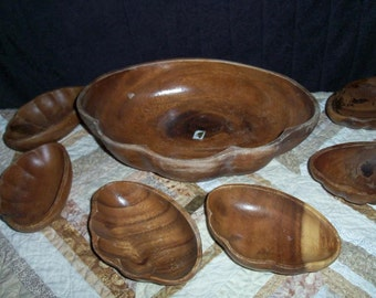 Treen Wooden Bowl Set Scalloped Handcarved 6 Side Dishes