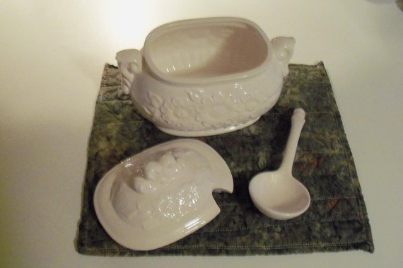 Vessel White Hobnail Serving with Ladle