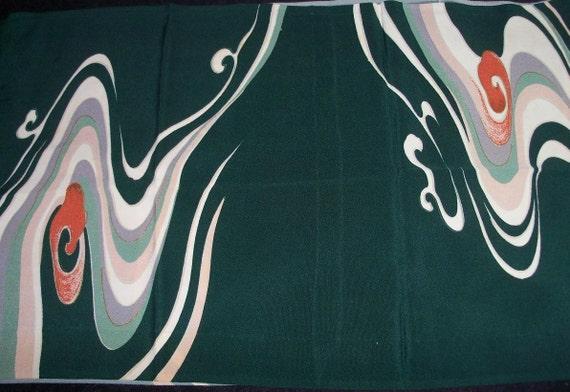Japanese Silk Art Fabric Stunning Flow Pattern Over Five Feet Long Mid Century Treasure by AntiquesandVaria
