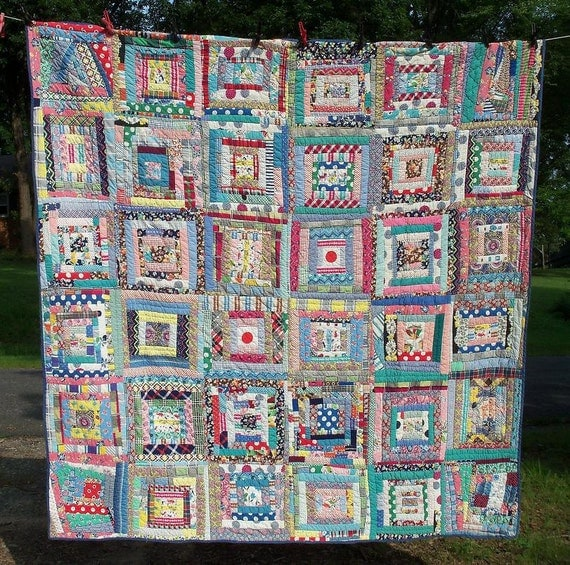 Quilt Handmade Log Cabin Amazing Art Quilt of Yesteryear Turtles Rabbits Carnival Horses Fairies & Many Other Creatures by AntiquesandVaria