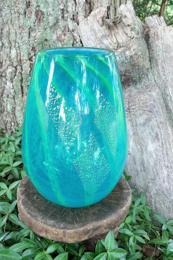 Art Glass Watermelon Vase Midcentury Exquisite Heavy Handblown Blue Green Gold Abstract Piece