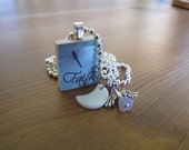 Faith and Dragonfly - Scrabble Tile Pendant with Angel (Swarovski Crystal), Mother-of-Pearl Crescent Moon, and Silver-plated Charms