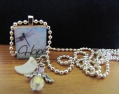 Hope and Dragonfly - Scrabble Tile Pendant with Angel (Swarovski Crystal), Mother-of-Pearl Crescent Moon, and Silver-plated Charms