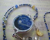 Beaded ID Lanyard Badge Reel - Van Gogh's Starry Night with Crescent Moon Charm - Mix & Match
