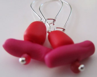 red, mid pink and silver wire earrings