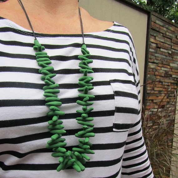 mid-green coral-shaped polymer beaded necklace
