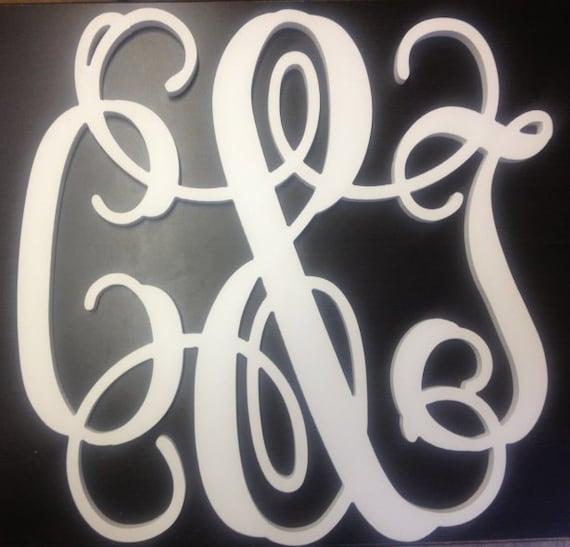24 inch White PVC Connected Vine Script Monogram Letters