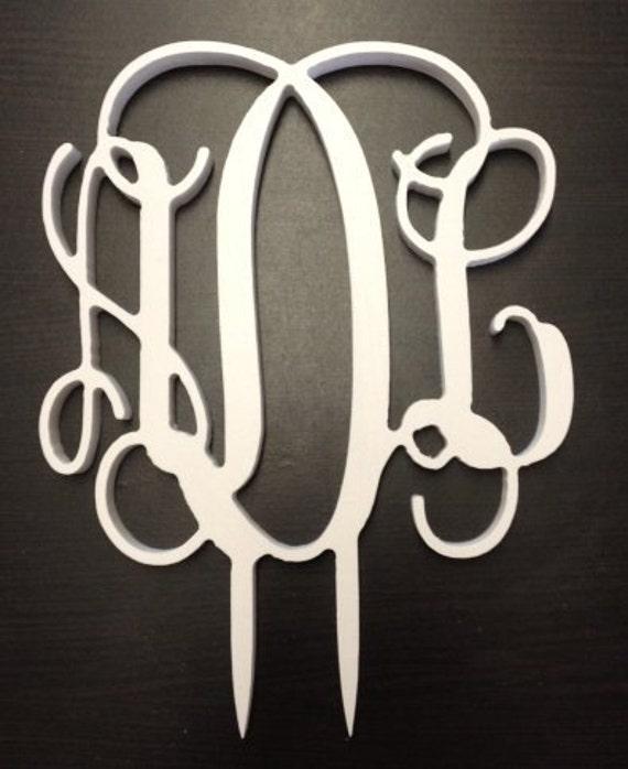 White PVC Vine Connected Monogram Cake Topper - Wedding/Birthday