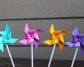 Set of 12 Pinwheel cupcake toppers - colors customizable