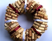 SALE Beautiful Wine Cork Wreath White & Burgunday Ribbon Or Color Combination Of Your Choice