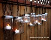 Mason Jar Lanterns Hanging Tea Light Luminaries - Set of 6