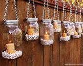 DIY Hanging Mason Jar Luminary Lantern Lids - Set of 8