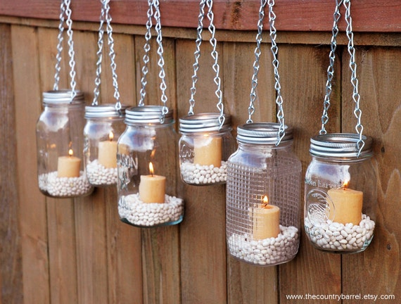 DIY Hanging Mason Jar Luminary Lantern Lids by TheCountryBarrel