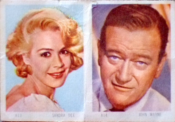 Vintage Movie Star Collectible Card from the 1950's, William Holden, John Wayne, Sandra Dee, Gift for Her, Gift for Him