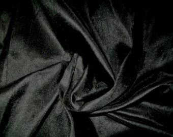 One Yard 100 percent pure dupioni silk  in black